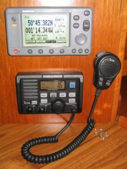 rya vhf radio in a yacht